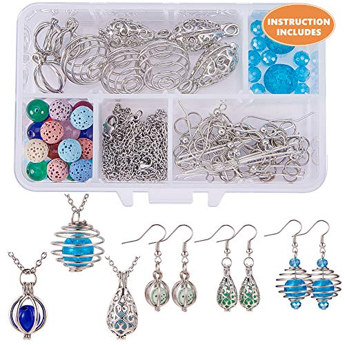 - SUNNYCLUE 1 Box DIY 9pcs Hollow Bead Cage Pendant Necklace Earrings Jewelry Making Kits Aromatherapy Essential Oil Diffuser Locket Pendant & Lava Chakra Gemstone Beads & Cross Chain Earring Hooks