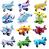 Set of 12 Wooden Mini Airplane Helicopter Fighter Jets Biplane Vehicle Model Educational Toys For Baby Toddler
