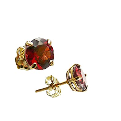 9ct Yellow Gold Created Ruby 5mm Round Stud Earrings - July Birthstone 6bBSzJp