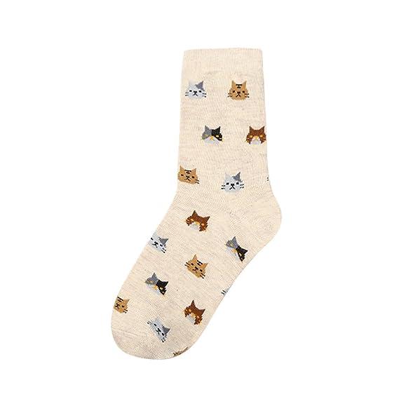 Kinlene Nuevo gato de dibujos animados animal del calcetín de las mujeres hermoso para los calcetines del algodón de las mujeres 5 colores: Amazon.es: Ropa ...