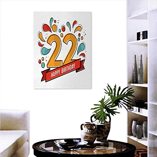 - Warm Family 22nd Birthday Artwork Wall Decor Colorful Anniversary Invitation Typography Design Modern Graphic Print Modern Canvas Painting Wall Art 20