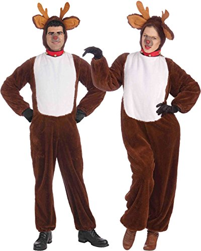 Forum Novelties Plush Reindeer Costume, Brown, Standard (One Size Fits Most Adults)