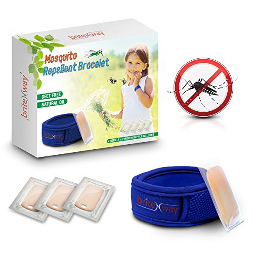 (Mosquito Repellent Bracelet - All Natural Waterproof Repeller Wrist Bands Plus 4 Refills - Deet Free Pest Ants Insects Protection No Spray - Safe Kids, Babies (Blue))