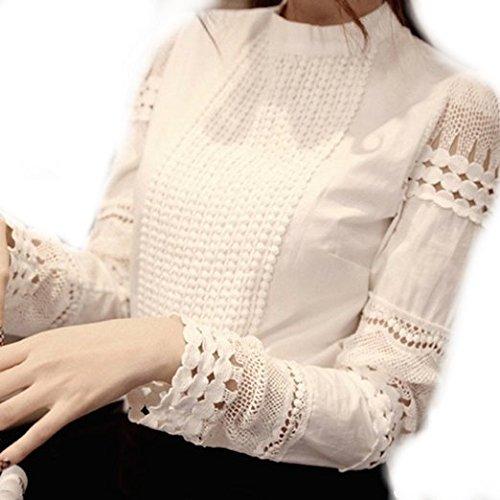 洋服段階摂氏度GraceLife ( グレースライフ ) エレガントな 透かし 彫り デザイン 長袖 丸襟 レース ブラウス (0: 白 Sサイズ)
