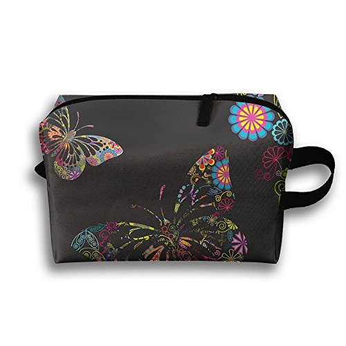 Women's Travel Case Cosmetic Storage Bags Flowers And Butter