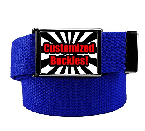 Custom Printed Men's Flip Top Bottle Opener Buckle with Canvas Web Belt Large Royal Blue (Printed Canvas Belt)