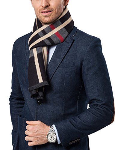 Shubb Men's Scarves, Men Cashmere Feel Scarf, Classic Checked Winter Scarves for Men, Black Check (Fashion Scarf Men)