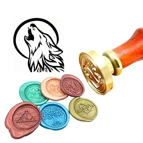 Kooer Moon and Wolf Wax Seal Stamp Custom Wolf Sealing Wax Stamp Kit Moon and Wolf Wax Stamp Kit Personalized Wedding Anniversary Invitation Seal Stamp (Seal with Handle) (Moon Wax Seal Stamp)