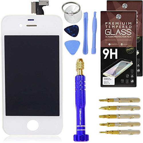 (Cell Phone DIY White LCD Screen Replacement & Accessory Kit for iPhone 4 - Full Assembly Front Screen [Set of 2] Screen Protectors - Pro Tool Kit)
