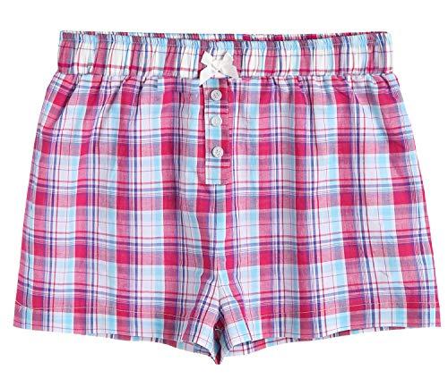 (Latuza Women's Sleepwear Cotton Plaid Pajama Boxer Shorts XL Pink)