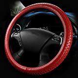Car Steering Wheel Cover Genuine Leather Wheel Sleeve Protector Hand-Knitted,Red,38CM/15in