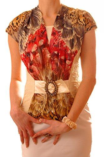 poshtops 2en 1Look Top elástico Mangas Kimono (tallas S-XXXL) crema