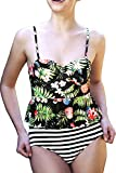 Cupshe Fashion Women's Floral Printing Top Stripe Bottom Falbala Bikini Set Tankini Swimsuit (L)