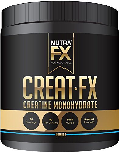 NutraFX Micronized Creatine Monohydrate Powder All Natural Pre Workout Energy Boost and Muscle Building Supplements (300g - 60 Servings)