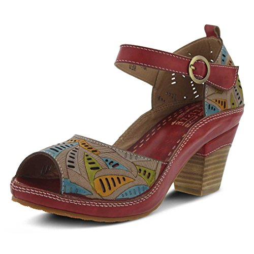 Lartiste Di Spring Step Da Donna Avelle Quarter Strap Sandal Rosso Multi