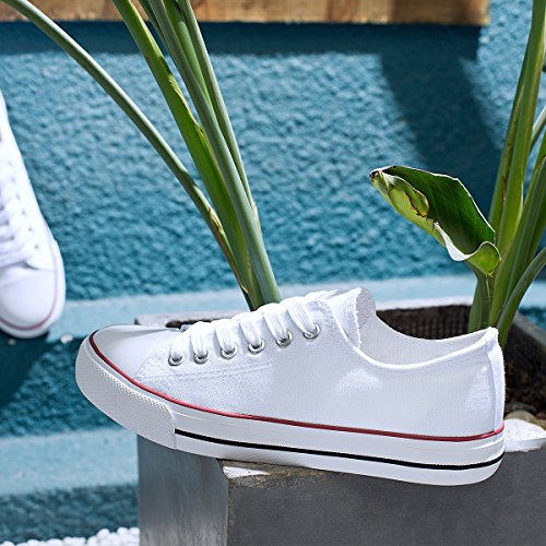 Aomais Mujeres Fashion Canvas Sneakers Low Top Lace Up Zapatos Para Caminar Blanco1
