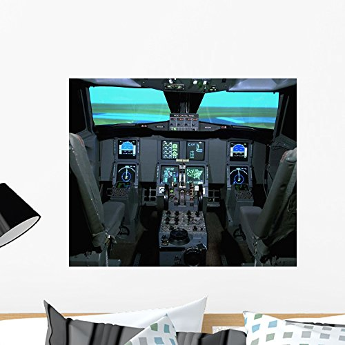 Interior Aircraft Flight Simulator Wall Mural by Wallmonkeys Peel and Stick Graphic (24 in W x 20 in H) WM1079