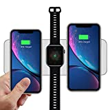 Wuloo Wireless Charger, iWatch Charger Qi 10W Fast 3 in 1 Ultra-Thin Wireless Charging Pad Compatible with Watch Series 3/2/ 1, iPhone 8/8 Plus/X, Galaxy S9/Note 8/S8 and All Qi Enabled