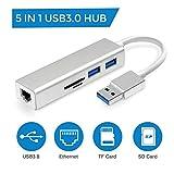 USB Hub, USB3.0 Card Reader Adapter with RJ45 Ethernet Interface, 2 USB 3.0 Ports, SD/Micro SD Card Reader