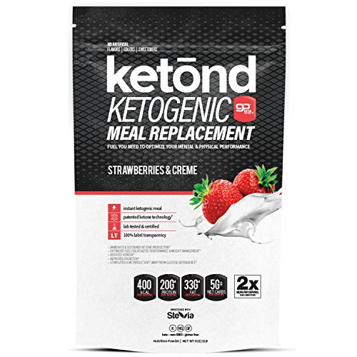 Ketond Ketogenic Meal Replacement 400 kCal and 75g Per Serving. 75% Fat / 20% Protein / 5% Carbs. The Only Ketogenic Meal Replacement ShakeSupercharged with goBHB™ + goMCT™ (Strawberries & Creme