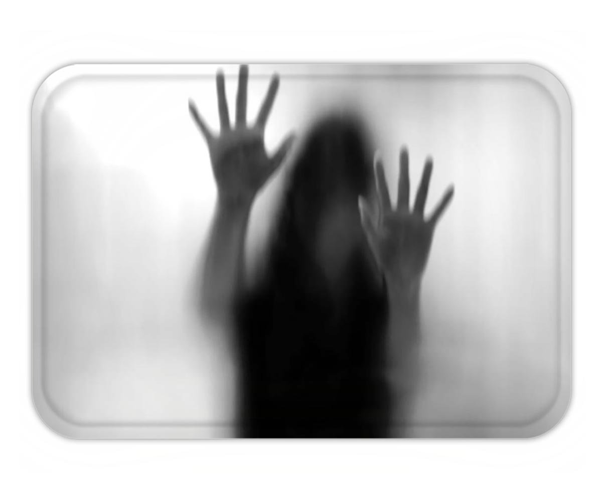 Minicoso Doormat Horror House Decor Silhouette of Woman behind the Veil Scared to Death Obscured Paranormal Photo Gray