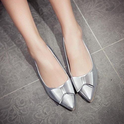 MissSaSa Damen modern Pointed Toe Chunky heel Low-cut Lackleder Pumps mit Schleife Silber