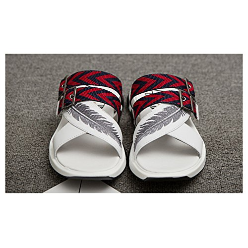 Playa Pie Del La La Nuevas WKNBEU Dedo De Peep Zapatos De Del Zapatillas 2018 De Sandalias Hombres Ocio Del De Juventud De Los La Blancas Del Cuero Verano Negras White Plataforma De R16wqFxR4