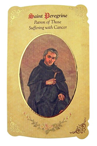 Silver Tone Saint Peregrine Patron of Those Suffering with Cancer Medal and Holy Card, 1 Inch