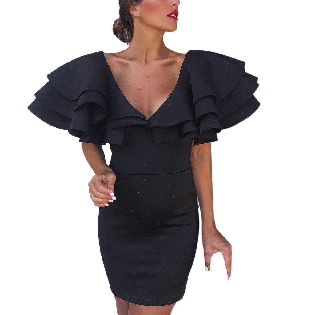 Reokoou Women's Sexy V-Neck Ruffled Bag Hip Dress Black