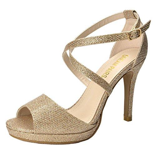 DREAM PAIRS GAL Women's Elegant Cross Strap Plain/Glitter Open Toe High Heel Wedding Pump Sandals New GAL-5 LIGHT GOLD SZ 8.5 - Gold Shoes Wide