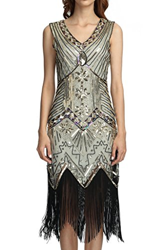 Deargles Women 1920s Gastby Sequined Art Nouveau Embellished Fringed Flapper Dress XPR003 Champagne Gold (Las Vegas Themed Prom)