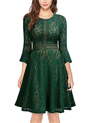 age Full Lace Contrast Bell Sleeve Big Swing A-Line Dress (Large, Green) ()
