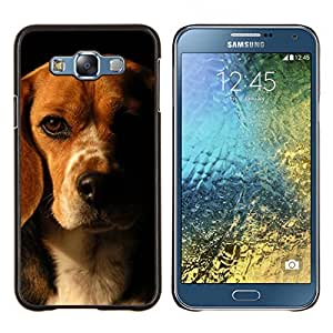 LECELL--Funda protectora / Cubierta / Piel For Samsung Galaxy E7 E700 -- Beagle Marrón Negro perro de mascota --
