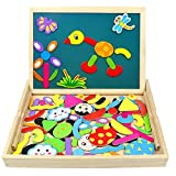 jerryvon Wooden Puzzle Montessori Toys Magnetic Drawing Board Double Side Multifunctional Jigsaw Toys Early Education for Kids Boys Girls Over 3 Years Old