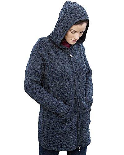 Irish Aran Knitwear 100% Irish Merino Wool Women's Long Hooded Zip Sweater with Pockets (XX Large, Charcoal)