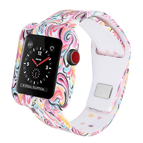 Cumeou Silicone Replacement Sport Band Strap with Protective Bumper Case for 38mm 42mm Apple Watch iwatch Series 3 Series 2 Series 1 Nike+ Hermes Edition, Fashionable Wrist Watchband, Christmas Gift