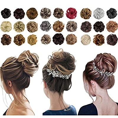 2PCS Messy Bun Hair Piece Thick Updo Scrunchies Hair Extensions Ponytail Hair Accessories Light Brown Mix Ash Blonde