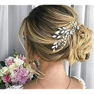 Deniferymakeup Crystal Bridal Hair Comb Rhinestone Hair Pin Wedding Hair Bridal Hair Accessory Brides Bridesmaid Prom Bridal Comb Wedding Hair Accessories Crystal Bridal Tiara (Set of 2) 74