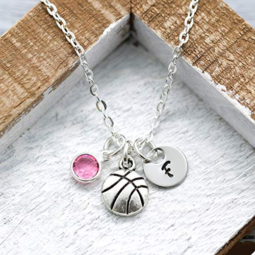 Basketball Necklace for Women - Personalized Initial & Birthstone - Basketball Team Gifts for Coach Appreciation - Fast Shipping