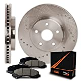 Front Premium Cross Drilled Rotors and Ceramic Pads Brake Kit KT031821 | Fits: 2004 04 2005 05 Dodge Ram 1500 2WD/4WD Models