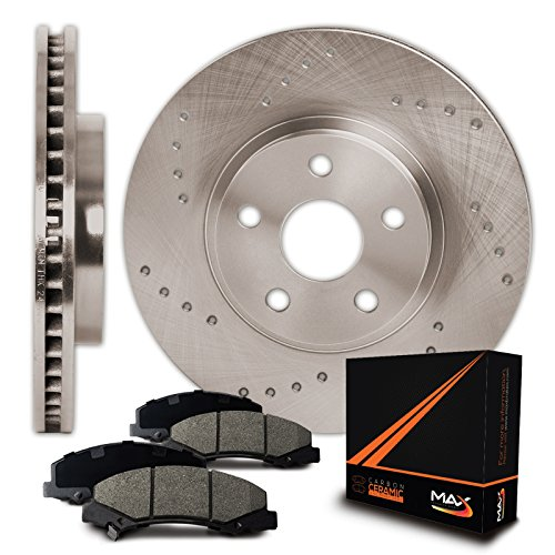 Max Brakes Cross Drilled Rotors w/Ceramic Pads Front Perforamnce Brake Kit KT054121 [Fits 1994 - 2000 Ford Taurus Mercury Sable | 1995 - 1998 Ford - Brake Taurus Ford Disc