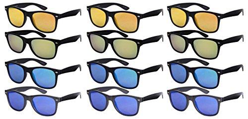 Edge Rim (Edge I-Wear 12 Bulk Wholesale Sunglasses Horned Rim Unisex 80s Retro Style Flat Mirrored Lens N541002SF-FLREV)