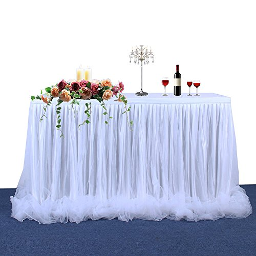 Table Skirt Threaded Ribbon 2 Yard with Tutu Tulle Table Cover for Elegant Party Wedding Table Decoration(With Long Tulle White) - Satin Inner Lining