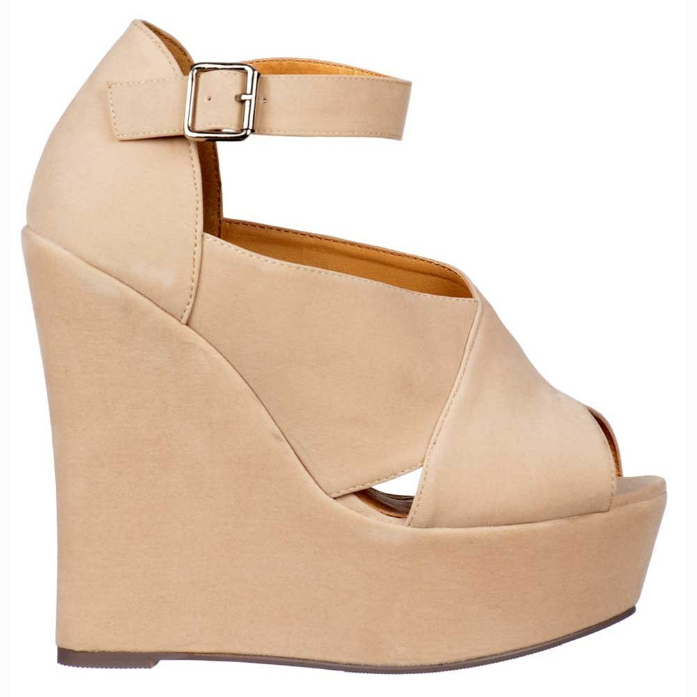 Onlineshoe Femmes de - dames Criss Cross Platform Wedges - Nude Beige courroie de cheville - Nude Suede Beige Cream Nude 81a159c - fast-weightloss-diet.space