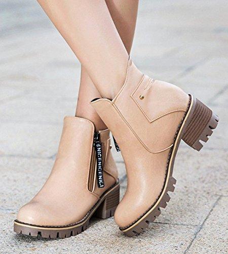Aisun Kvinna Mode Dragkedja Mittsegment Hälen Korta Stövlar Rund Tå Plattform Ankel Tossor Skor Aprikos