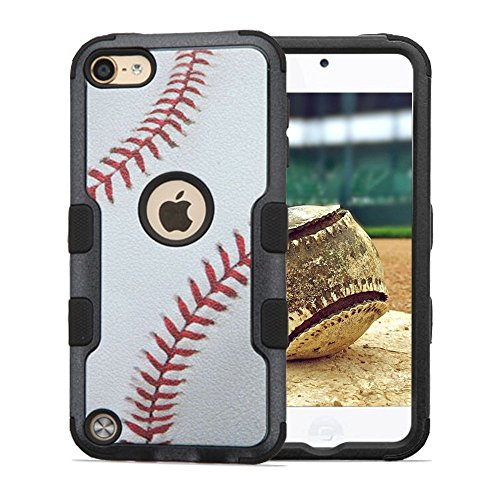 (iPod Touch 5th and 6th Gen Case, JoJoGoldStar® Hybrid Slim Fit Heavy Duty Shockproof Plastic and Silicone TPU Tuff Hard Cover with Screen Protector and Stylus (Baseball))