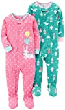 Carter's Baby Girls' 2-Pack Cotton Footed Pajamas, Bunny/Princess, 18 Months
