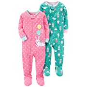 Carter's Baby Girls' 2-Pack Cotton Footed Pajamas, Bunny/Princess, 12 Months