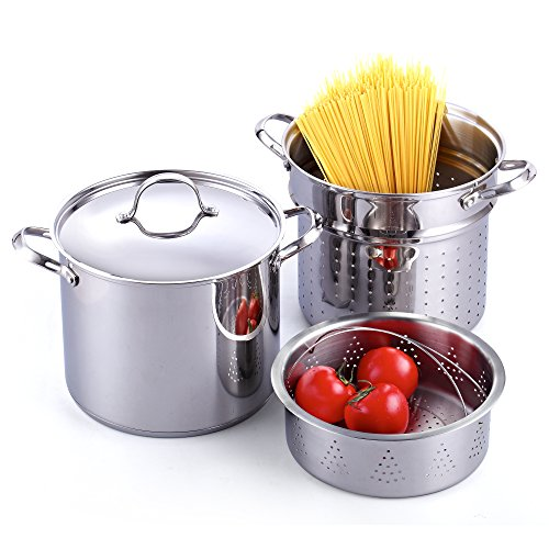Strainer Standard (Cooks Standard Classic 4-Piece 12 Quart Pasta Pot Cooker Steamer Multipots, Stainless Steel)