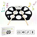 Jiesstore Portable Mini USB Interface Kids Silicon Foldable Electronic Roll up Digital Drum Pad Kit with Drum Stick Foot Switch Pedal